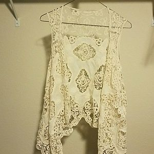 Unlisted Sweaters - Lace overlay vest